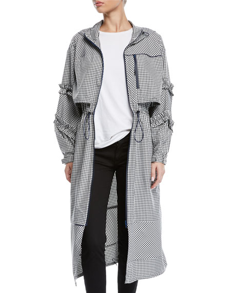 3.1 Phillip Lim Hooded Ruffle Gingham-Print Long Parka