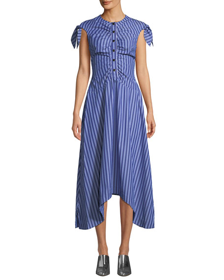 Derek Lam 10 Crosby Ruched-Bodice Striped Asymmetric Midi