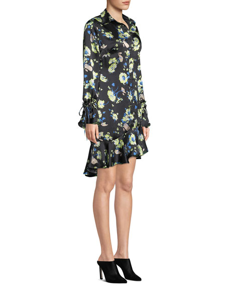 Floral-Print Silk Asymmetric Ruffle Shirtdress