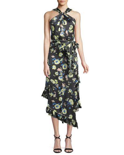 Asymmetrical Floral Ruffle Halter Midi Dress