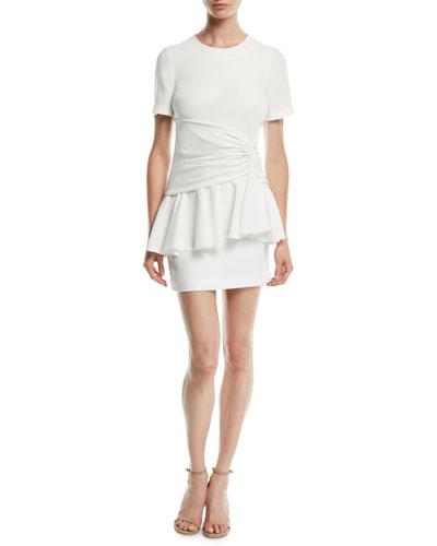 Fontaine Crewneck Flounce Mini Dress