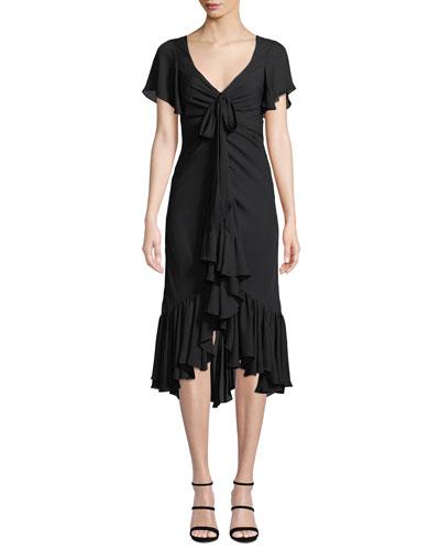 Mateo Tie-Front Ruffle Silk Midi Dress