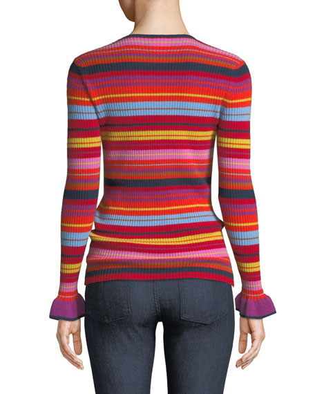 Striped Ruffle-Sleeve Crewneck Sweater