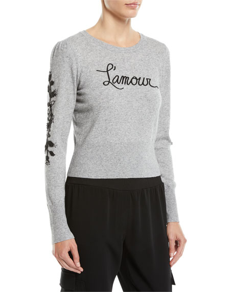 cinq a sept Kian Embellished Graphic Pullover Sweater