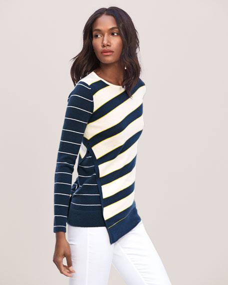 Mixed-Stripe Asymmetrical Crewneck Sweater
