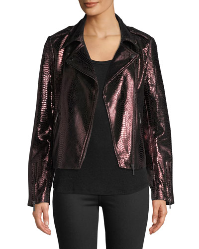 Metallic Snake-Embossed Lamb Leather Moto Jacket