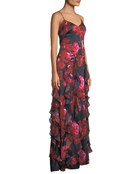 Equinox Floral Gown w/ Cascading Ruffles