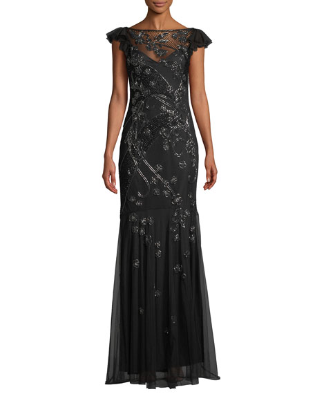 Parker Black Dollie Embellished Gown w  Illusion Neck 0805b36a030e