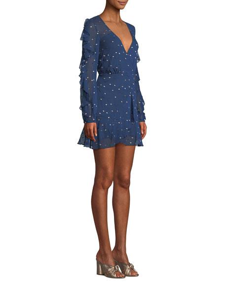 Dalliance Metallic-Dot Faux-Wrap Short Dress