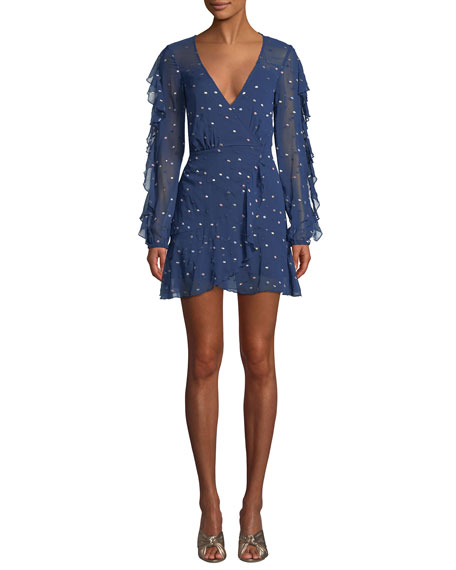 La Maison Talulah Dalliance Metallic-Dot Faux-Wrap Short Dress