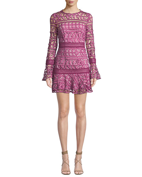 Caprice Long-Sleeve Floral-Lace Short Dress