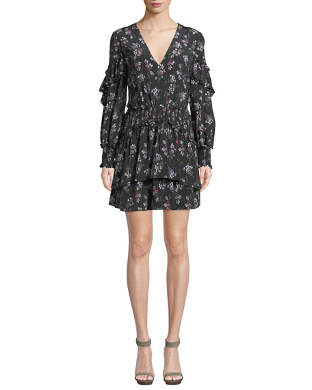 Chaleur V-Neck Long-Sleeve Floral-Print Silk Mini Dress
