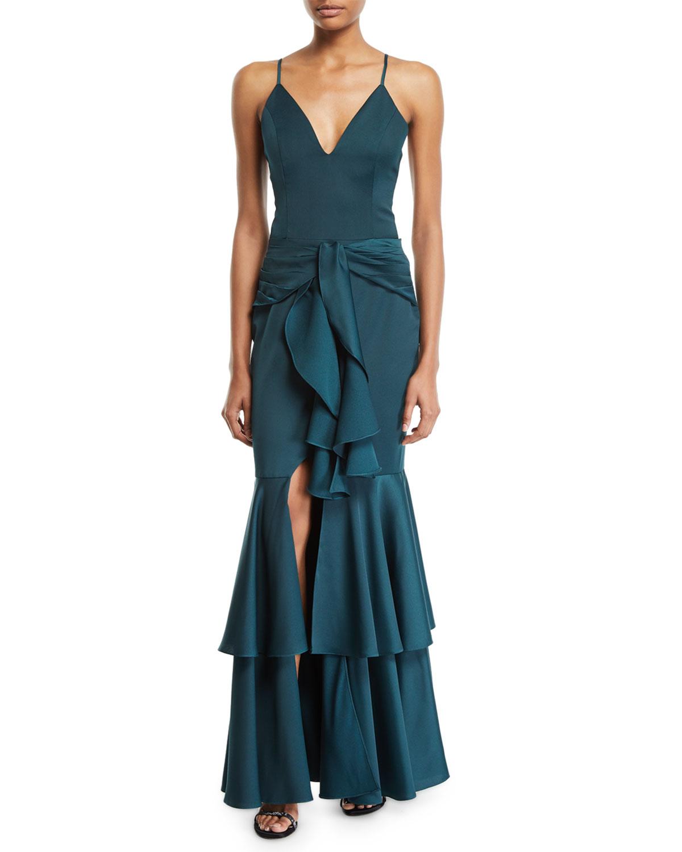 PatBo Patricia Bonaldi Sleeveless Tiered Ruffle Gown Dress | Neiman ...