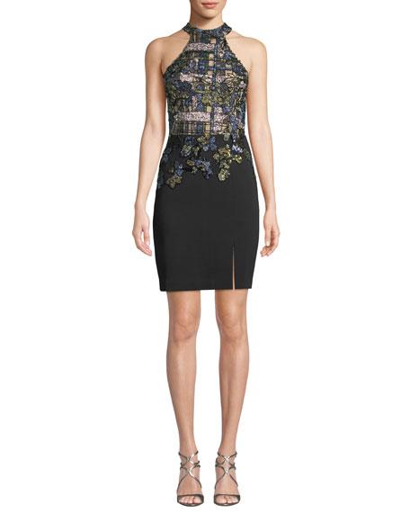 PATBO PATRICIA BONALDI Plaid Cutout Halter Dress in Black