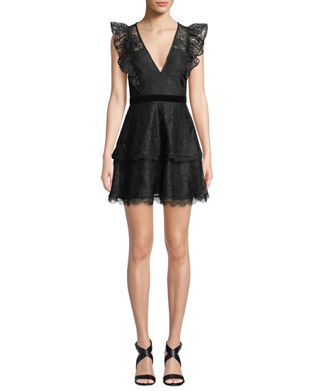 La Maison Talulah V-Neck Sleeveless Floral-Lace Mini Dress