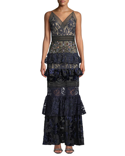Tiered Lace and Velvet Floral-Beaded Gown