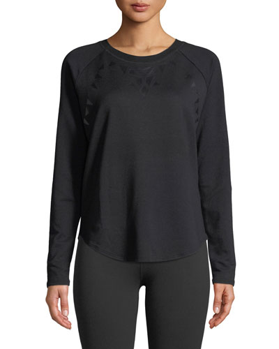 Calico Scoop-Neck Long-Sleeve Pullover Sweater