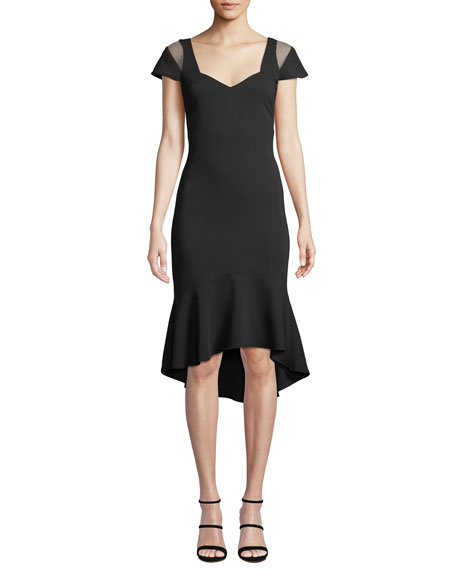 Parker Black Grace Body-Con Dress w/ Cutout Illusion
