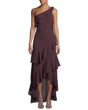 6676c79cc08c Parker Black Jordan One-Shoulder Georgette Gown w  Ruffles