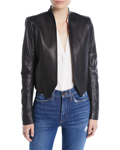 Harvey Draped Open-Front Leather Jacket