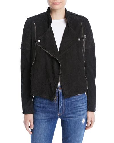 Miles Suede Quilted Zip Moto Jacket
