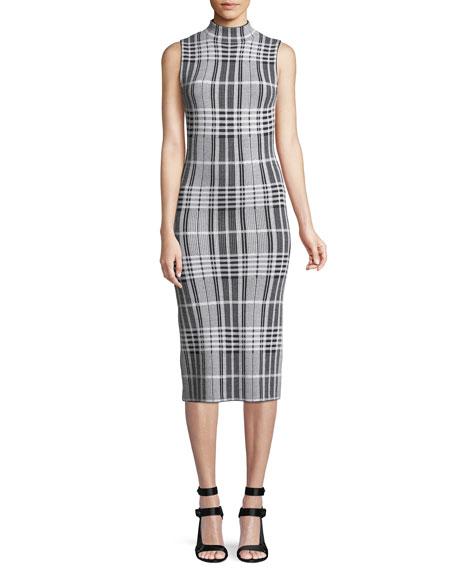 Hana Mock-Neck Sleeveless Windowpane Check Body-Con Midi Dress, Black/White