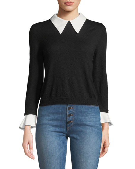 Alice And Olivia Tops Aster Collar Ruffle-Cuff Knit Sweater