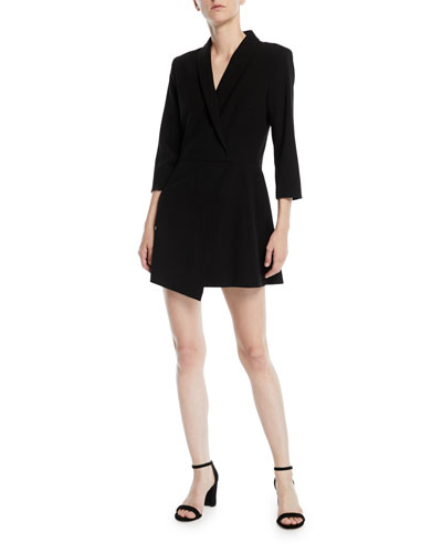 Brenda Shawl-Collar Crossover Crepe Mini Dress