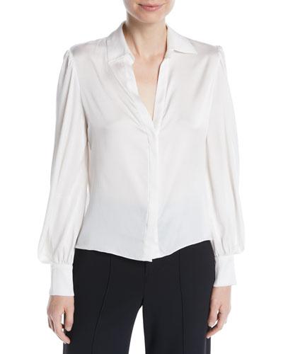 Shanda Button-Front Puff-Sleeve Silk Shirt