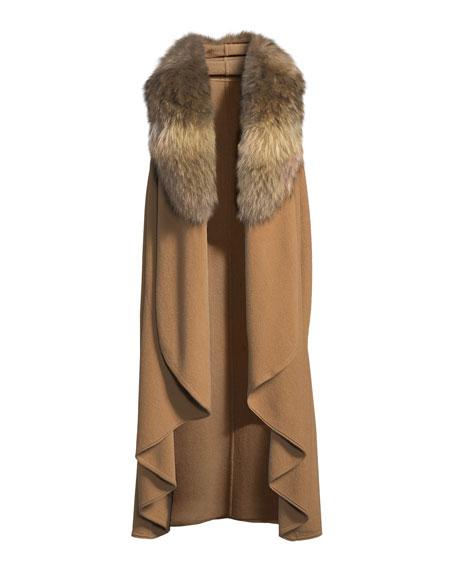 Beatrice Draped Wool-Blend Vest w/ Fox Fur
