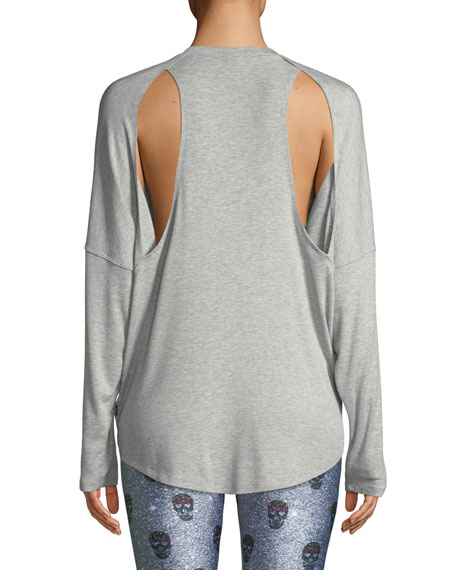 Ribbed Open-Back Activewear Sweater