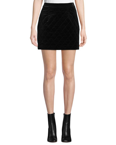 Velvet Quilted Mini Skirt