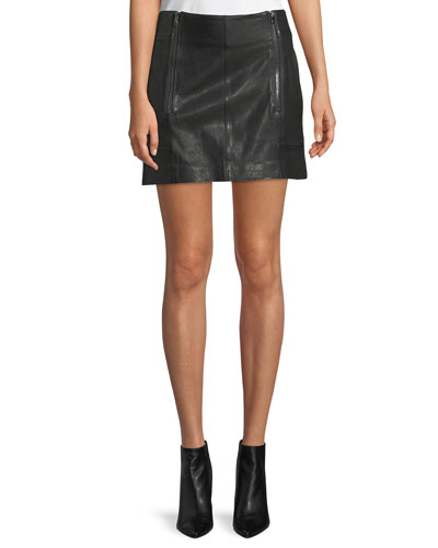 Double-Zip A-Line Leather Mini Skirt