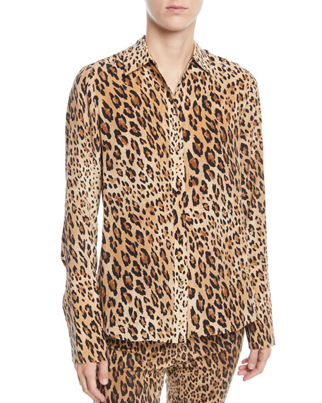FRAME Cheetah-Print Button-Front Silk Top w/ Long Cuffs