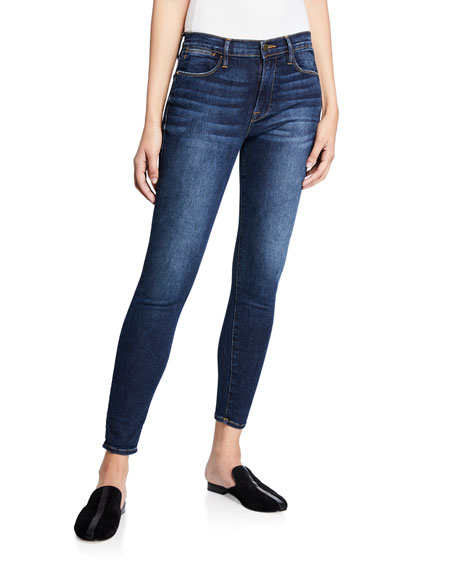 Le High Skinny Jeans with Lightly Distressed Pockets