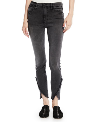 Le High Skinny Jeans with Frayed Tulip Hem