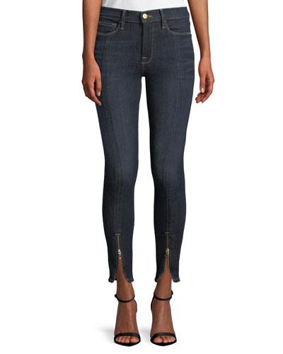 Le High Skinny Split Zip-Hem Ankle Jeans