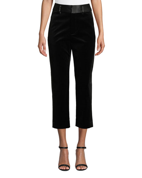 FRAME Velvet Tux Cropped Straight-Leg Pants