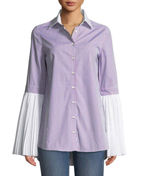 Monographie PLEATED BUTTON-FRONT STRIPED COTTON SHIRT