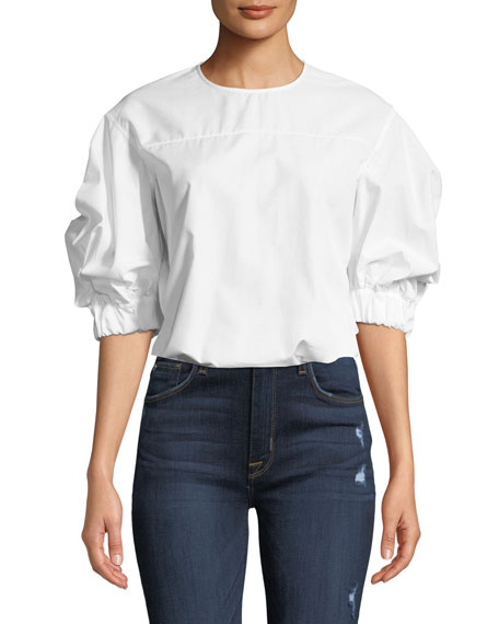 Cotton Elastic-Sleeve Crewneck Top