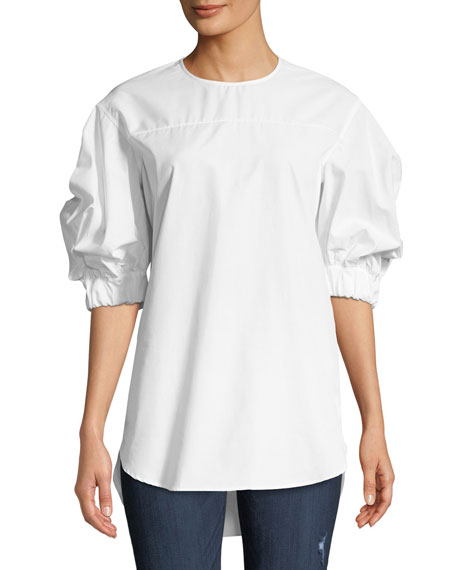 Monographie COTTON ELASTIC-SLEEVE CREWNECK TOP