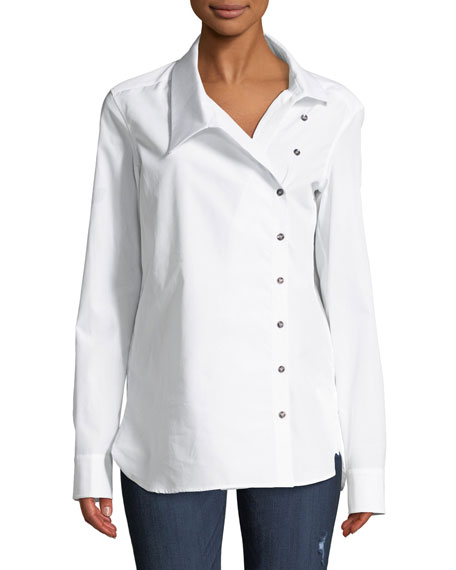 Monographie CLASSIC CROSSOVER BUTTON-FRONT COTTON SHIRT