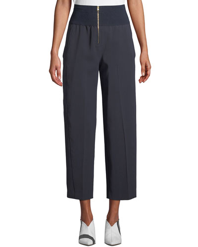 Ribbed High-Waist Cropped Trousers