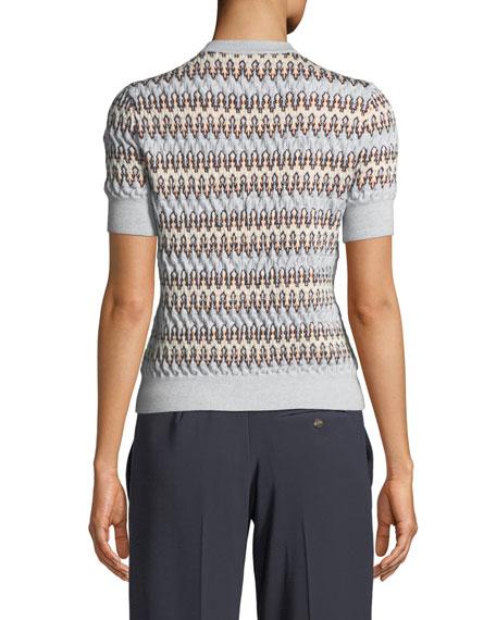 Zigzag Jacquard Short-Sleeve Sweater