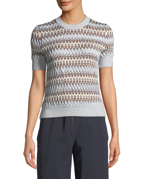 Carven Zigzag Jacquard Short-Sleeve Sweater