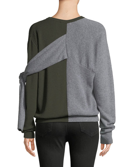 Crewneck Split-Color Wool-Cashmere Sweater w/ Ties