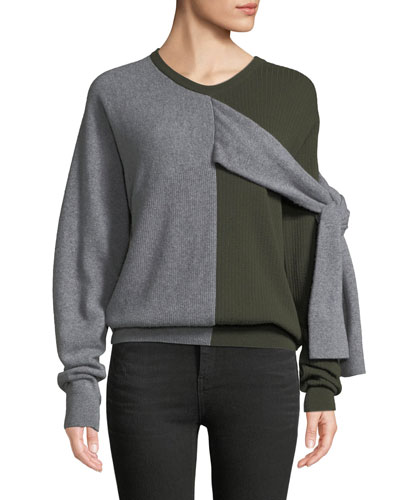 Crewneck Split-Color Wool-Cashmere Sweater w/ Ties