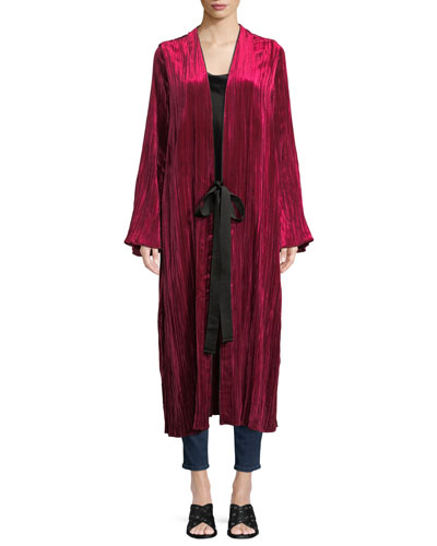 Pleated Velvet Duster Coat