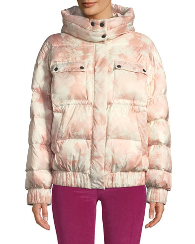 Tie-Dye Hooded Down Puffer Jacket