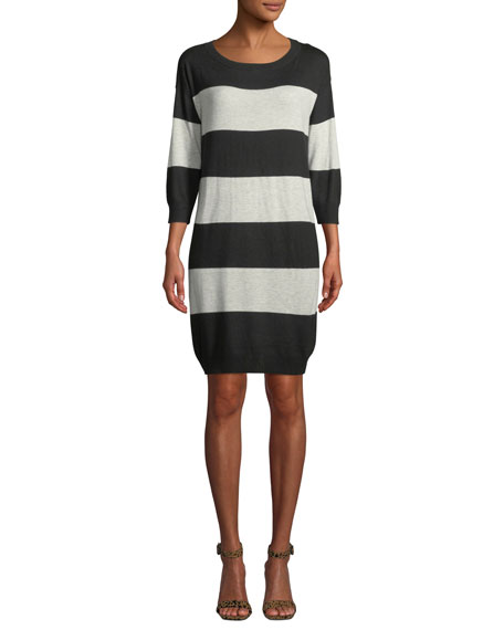 ATM Anthony Thomas Melillo Rugby-Stripe 3/4-Sleeve Sweater Dress